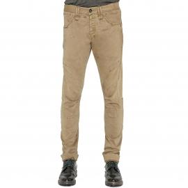 Pantalon slim Deepend effet suédine beige