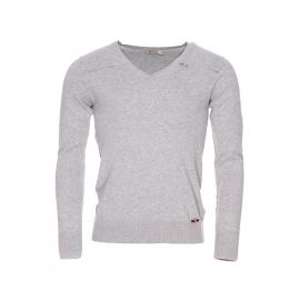 Pull col V Deepend en coton gris chiné zippé sur l'épaule