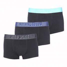 Lot de 3 boxers Diesel en coton noir à ceinture noire, bleu marine et turquoise