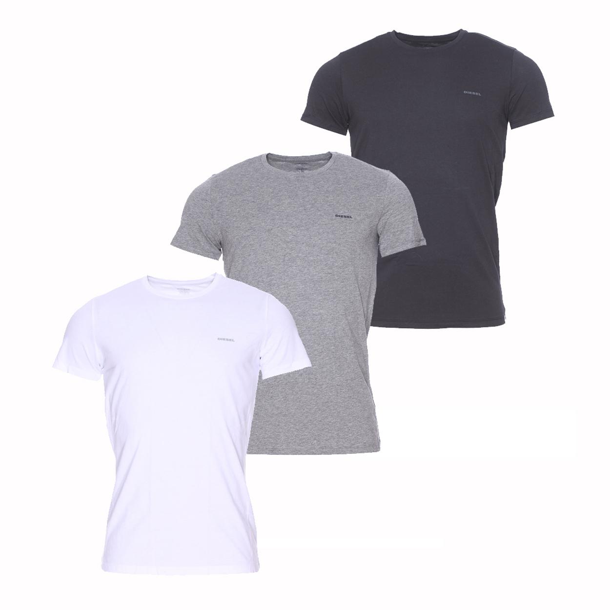 Lot de 3 tee-shirts col rond diesel blanc, gris,et noir