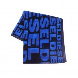 Serviette de plage Diesel en coton noir monogrammée en bleu électrique