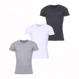 Lot de 3 tee-shirts col V Diesel en coton gris, blanc et noir
