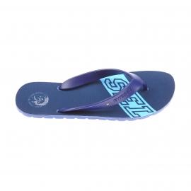 Tongs Diesel bleues monogrammées en bleu clair