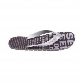 Tongs Diesel noires monogrammées en gris