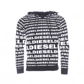 Sweat à capuche Diesel en coton noir monogrammé en blanc