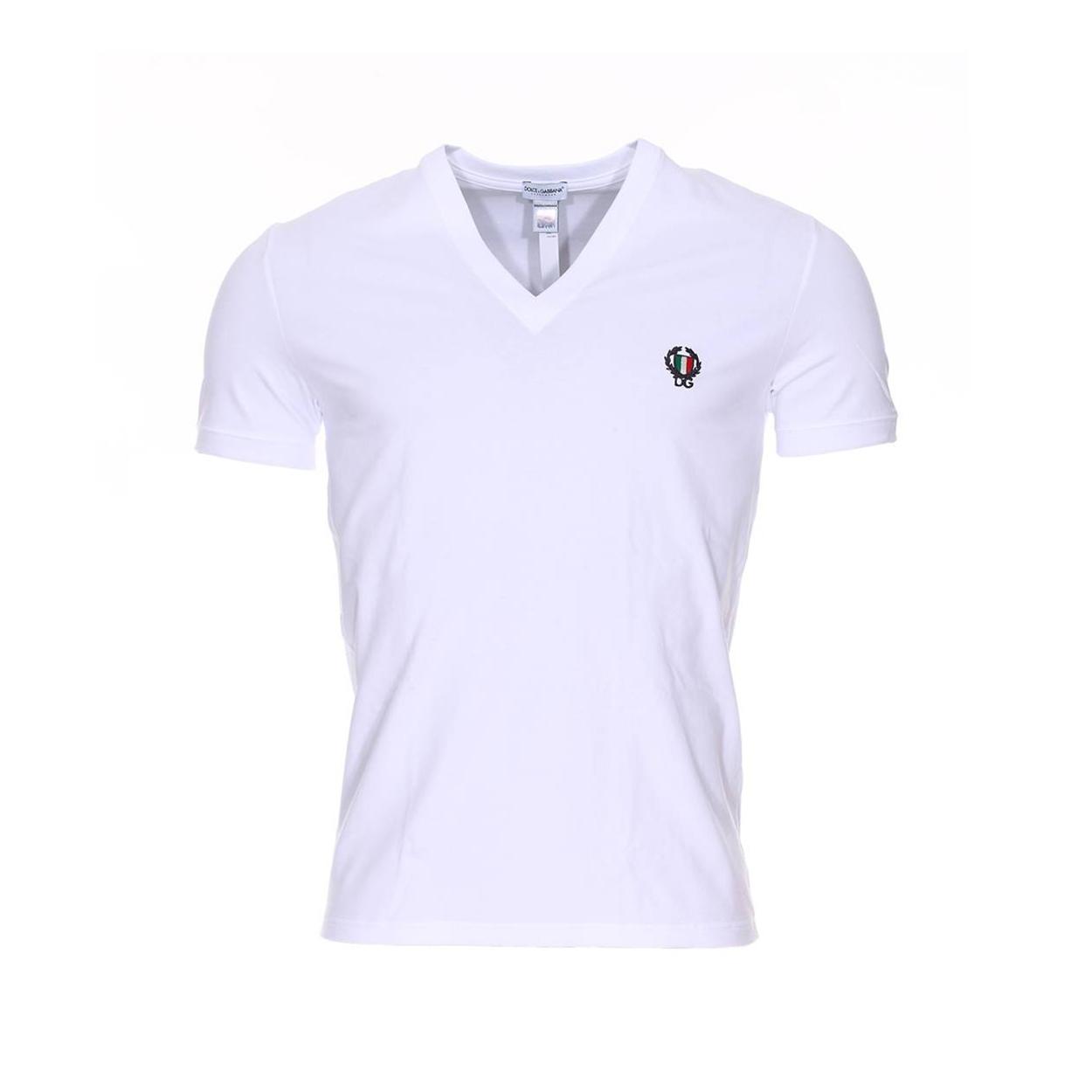 Tee-shirt col v  en coton stretch blanc brodé à la poitrine