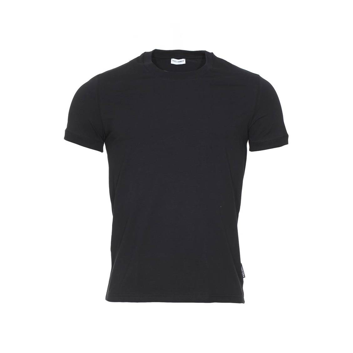 Tee-shirt col rond  en coton stretch noir