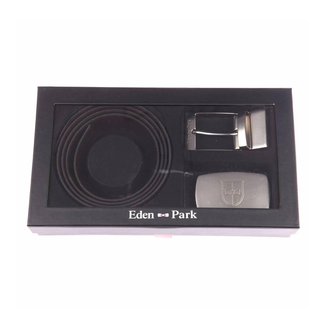 Coffret cadeau  : ceinture ajustable et r�versible en refente de cuir textur�e noire, boucle interchangeable classique et pleine ovale