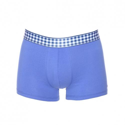 Boxer  en coton bleu � ceinture � carreaux bleu marine