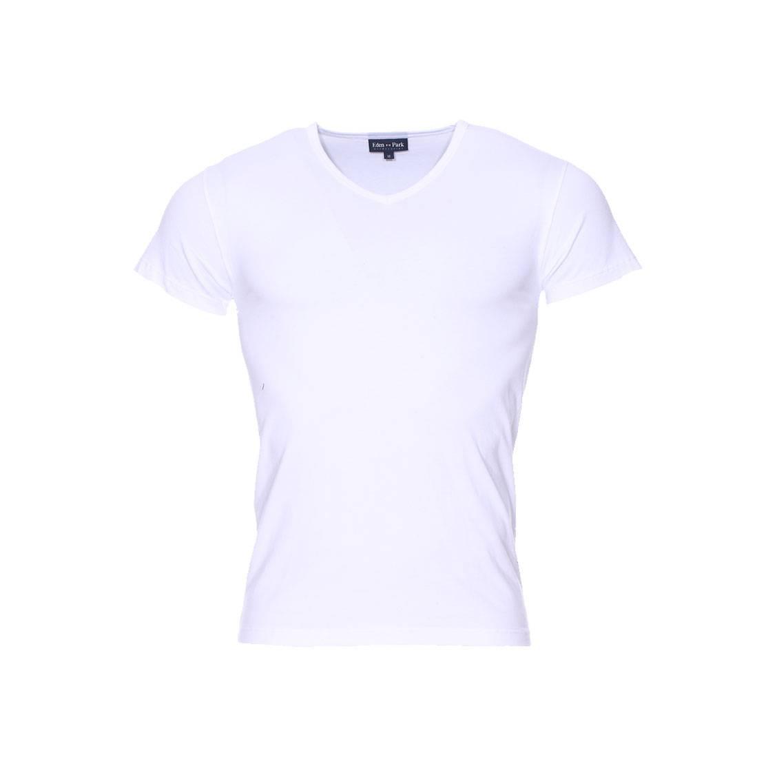 Tee-shirt col v  en coton blanc
