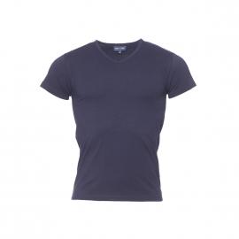 Tee-shirt col V Eden Park en coton bleu marine