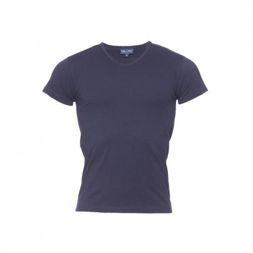 Tee-shirt col v  en coton bleu marine