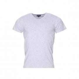 Tee-shirt col V Eden Park en coton gris chiné