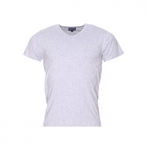 Tee-shirt col v  en coton gris chin�