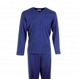 Pyjama long Eminence en coton mercerisé : Tee-shirt manches longues bleu marine à motifs drapeaux et pantalon uni bleu marine