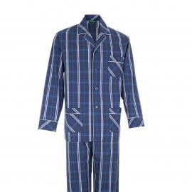 Pyjama long Eminence : Veste boutonnée et pantalon en popeline bleu marine à carreaux