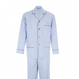 Pyjama long Eminence : Veste boutonnée et pantalon en popeline à rayures bleues et blanches