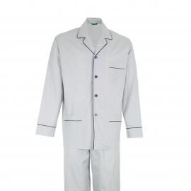 Pyjama long Eminence en coton : veste boutonnée manches longues et pantalon bleu grisé à pois bleu marine