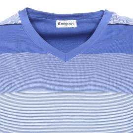 Pyjama court Eminence en coton mercerisé : Tee-shirt à rayures bleues, bleu clair et bleu ciel et short bleu marine