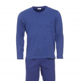 Pyjama long Eminence en coton mercerisé : Tee-shirt manches longues bleu marine à motifs carrés et pantalon uni bleu marine