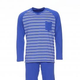 Pyjama long Eminence en jersey de coton : Tee-shirt col V manches longues bleu indigo à rayures blanches et pantalon uni bleu indigo