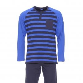 Pyjama long Eminence en jersey de coton : Tee-shirt col tunisien bleu indigo à rayures bleu marine et pantalon uni bleu marine