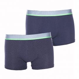 Coffret cadeau : lot de 2 boxers Eminence en coton et modal : 1 modèle bleu marine et 1 modèle bleu marine à pois blancs