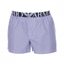 Caleçon Emporio Armani en coton à rayures blanches et bleues