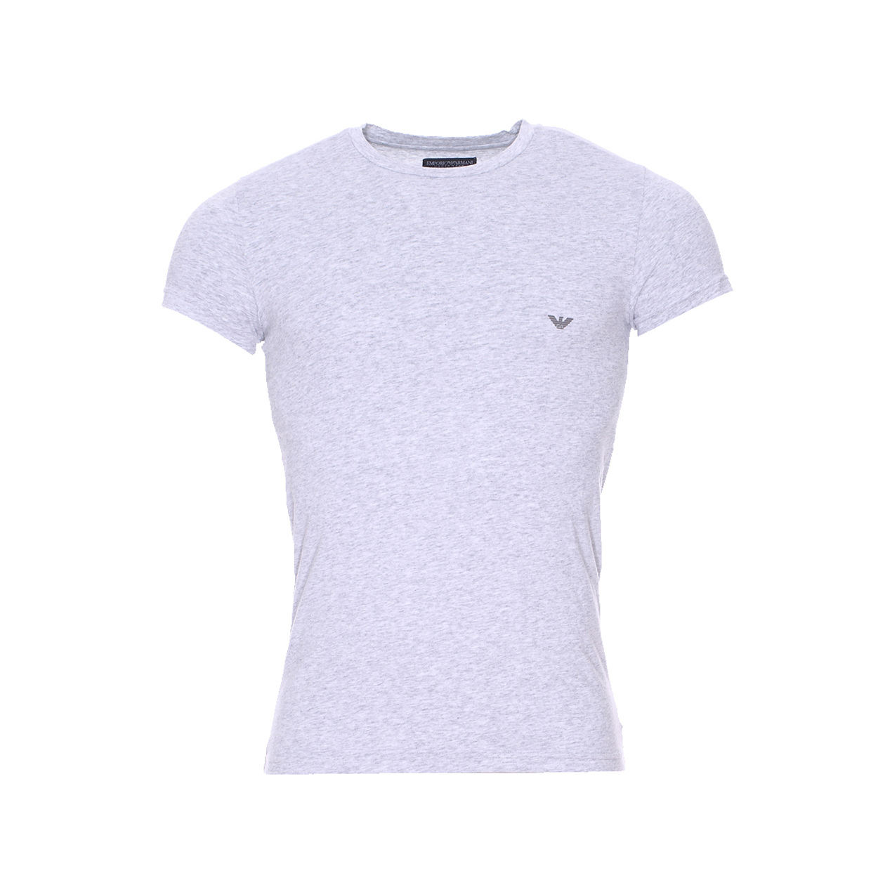 Tee-shirt col rond  en coton gris chiné
