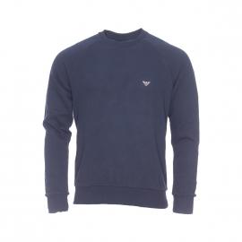 Sweat Emporio Armani en coton bleu marine floqué au dos