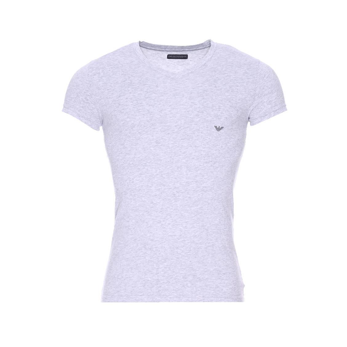 Tee-shirt col v  en coton gris chiné
