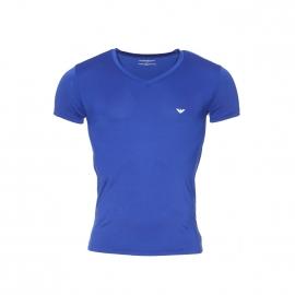 Tee-shirt fluide Emporio Armani col V en polyamide bleu électrique