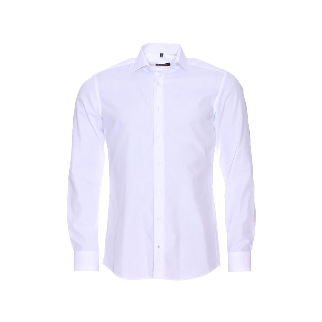 Chemise ajustée  en popeline blanche sans repassage