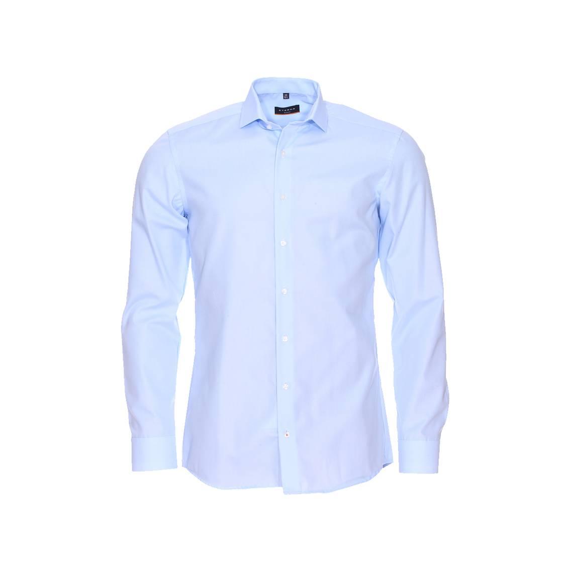 chemise ajust e eterna en popeline bleu ciel sans repassage rue des hommes. Black Bedroom Furniture Sets. Home Design Ideas