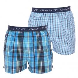 Lot de 2 caleçons Gant en coton : 1 modèle à petits carreaux bleus et blancs et 1 modèle à carreaux bleus, blancs et verts