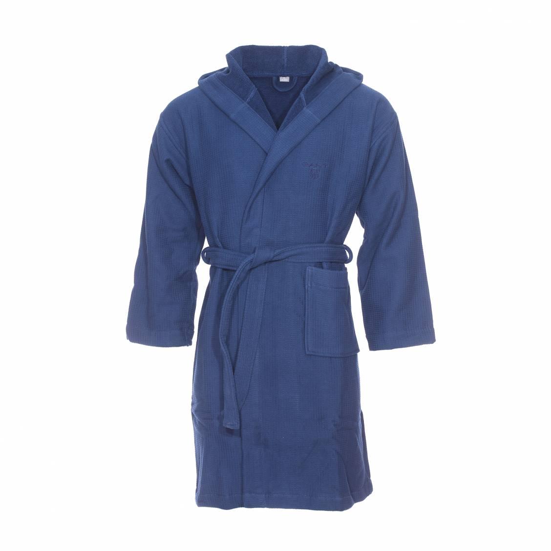 peignoir de bain capuche gant bleu marine gaufr int rieur ponge rue des hommes. Black Bedroom Furniture Sets. Home Design Ideas