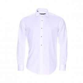 Chemise Cérémonie cintrée Gianni Ferrucci en coton blanc à col cassé et poignets mousquetaires