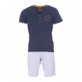 Pyjama court Guess : Tee-shirt en coton bleu marine à col tunisien effet double et bermuda gris