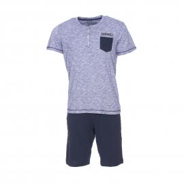 Pyjama court Guess : Tee-shirt en coton flammé bleu et blanc et bermuda bleu marine