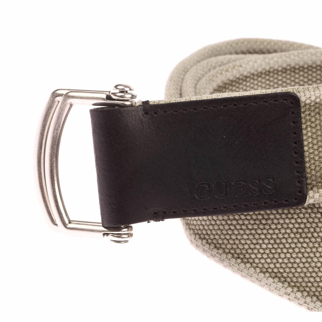 ceinture guess en tissu kaki delave a double boucle coulissante