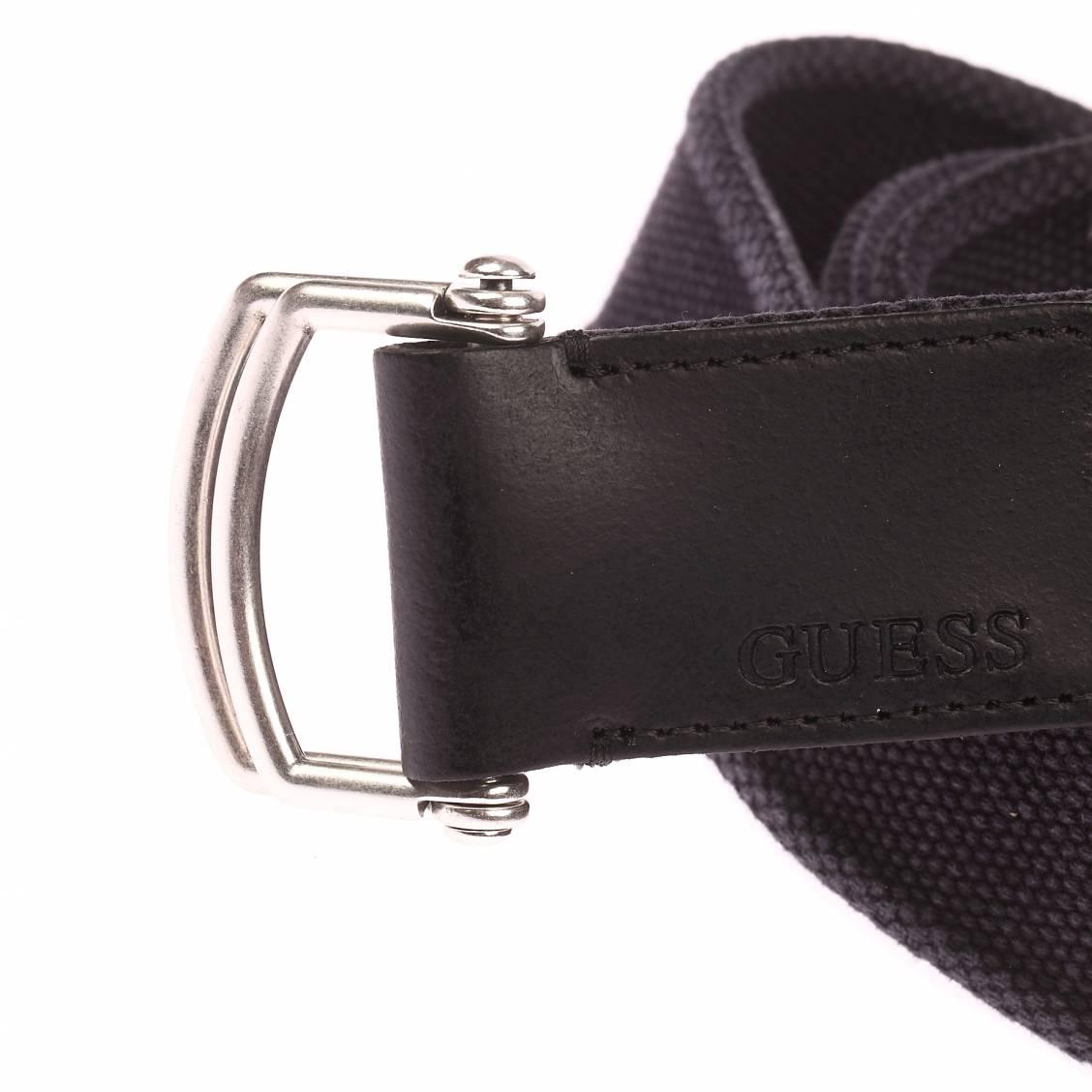 ceinture guess en tissu noir delave a double boucle coulissante