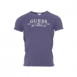Tee-shirt col rond Guess Violet, logo blanc