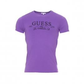 Tee-shirt col rond Guess Violet, logo noir