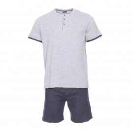Pyjama court HOM Rick : Tee-shirt col tunisien gris clair et short imitation jean