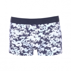 Shorty Elegance Denim Hom en coton stretch bleu marine à motifs fleuris blancs