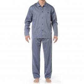 Pyjama long HOM Claude : Veste boutonnée et pantalon gris à motifs losanges bleu clair