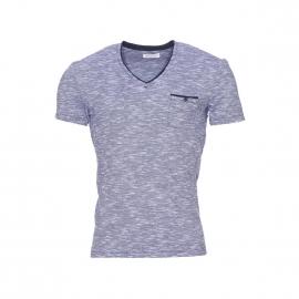 Tee-shirt Guepard Harris Wilson col V en coton flammé bleu marine et blanc