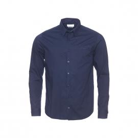 Chemise Harris Wilson Jack en coton bleu marine à opposition liberty bordeaux et prune