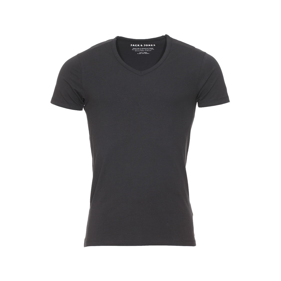 Tee-shirt col v jack&jones en coton stretch noir