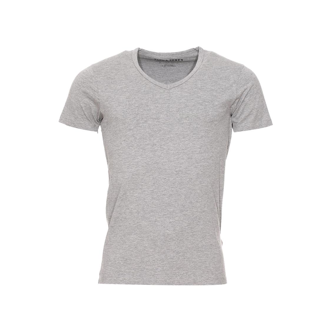 Tee-shirt col v jack&jones en coton stretch gris clair chiné